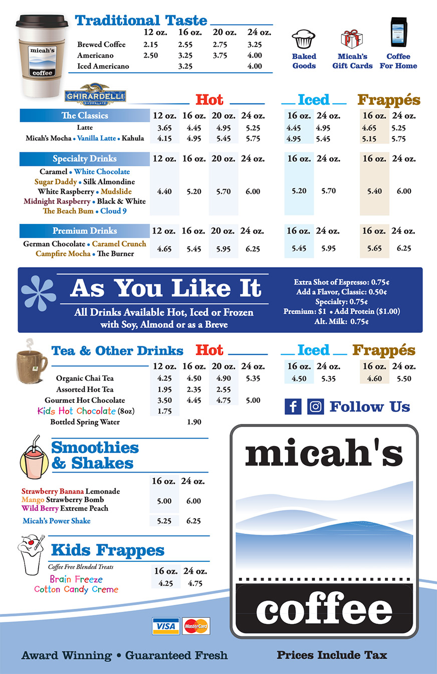 Micah's Coffee Menu